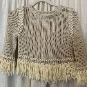 For love and lemons crop knit sweater with fringe